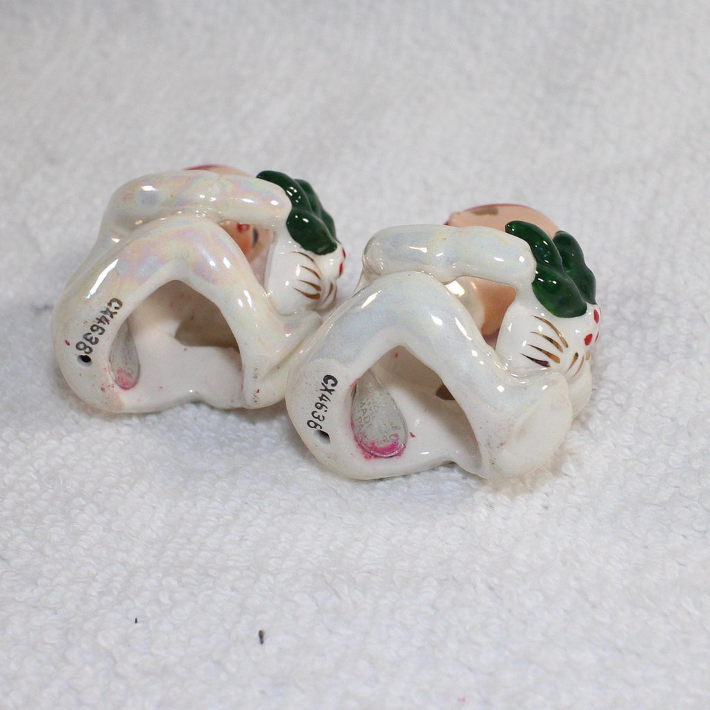 Vintage Napco Christmas Pixie Elf Candle Hugger Climber Figurines 1950s Japan