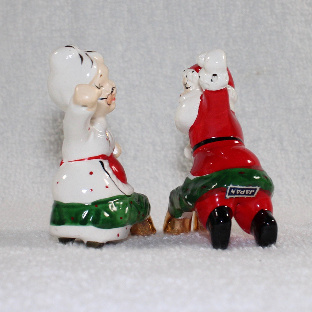 Vintage Commodore Japan Christmas Santa and Mrs. Claus Candle Climbers Huggers w/ BOX 1950s
