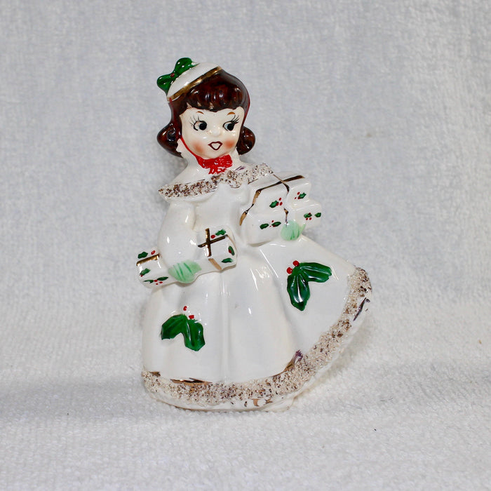 Vintage Christmas Relco Shopper Girl Figurine Japan 1950s