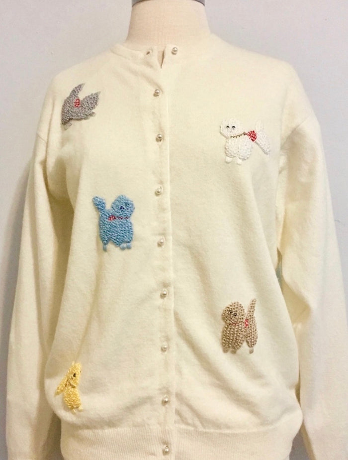 Vintage Poodle Sweater Beaded Cardigan 1950s
