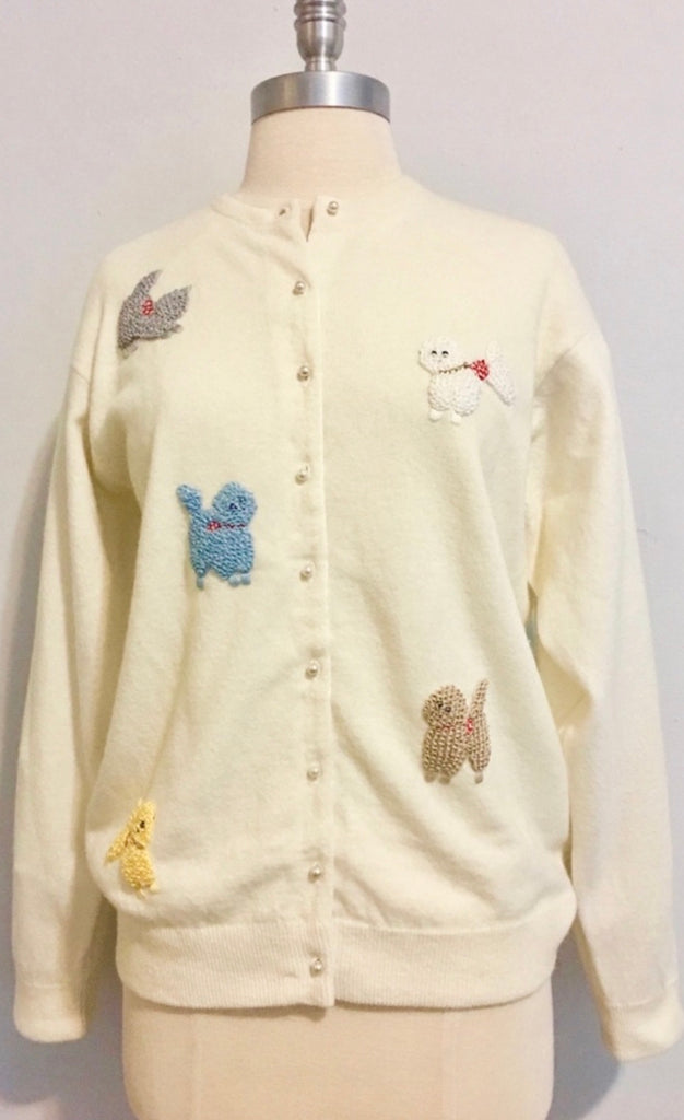 RARE True Vintage 1950s Beaded Poodle Cardigan Sweater LARGE