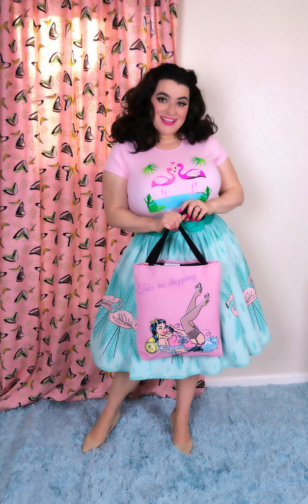 Take Me Shopping Pinup Girl Pink Tote Bag