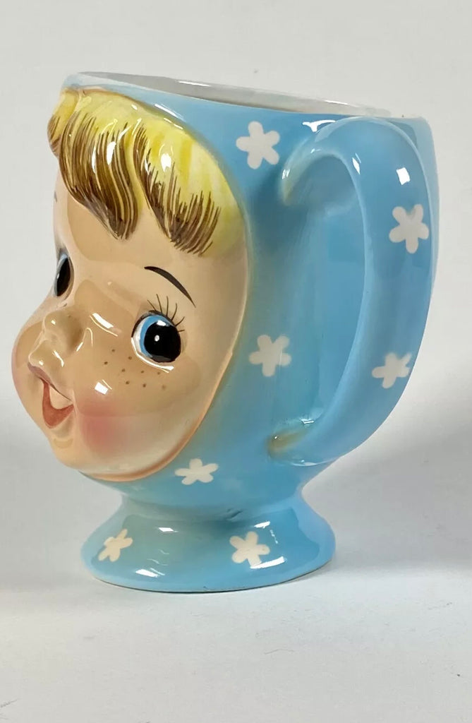 Vintage Napco Miss Cutie Pie BLUE Pixie Coffee Mug Tea Japan Blonde Hair Girl