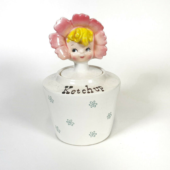 Vintage Lipper & Mann Flower Girl Ketchup Jar Holt Howard Pixieware Condiment