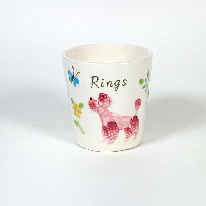 Vintage Enesco Perky Poodle Butterfly Ring Cup Holder 1950s Japan
