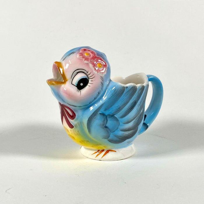 Vintage Lefton Bluebird Creamer Blue Bird 1950s Anthropomorphic