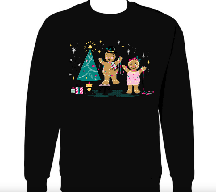 Retro Gingerbread Christmas Cuties Black Sweatshirt