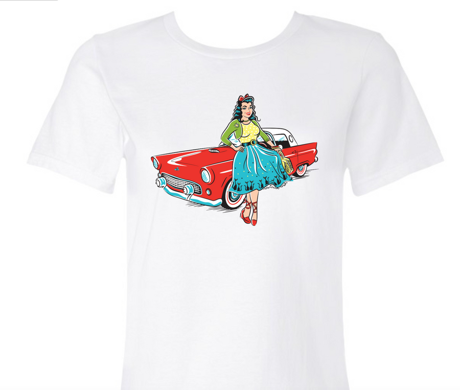 1950s Red Ford Thunderbird Classic Car Pinup Girl T-Shirt Cutie