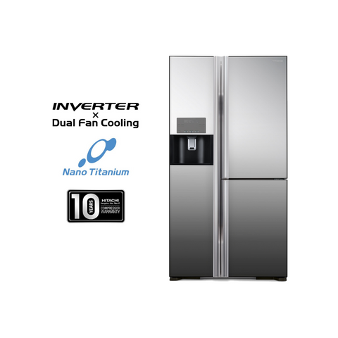 Hitachi 651L Side By Side Inverter Dual Fan Cooling Refrigerator RM810GP2MX