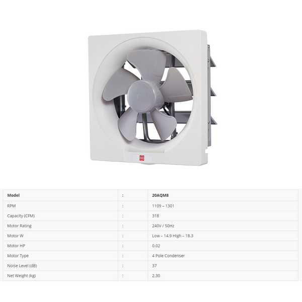 "KDK 20AQM8 (20cm/8"") Wall Mount Exhaust Fan"