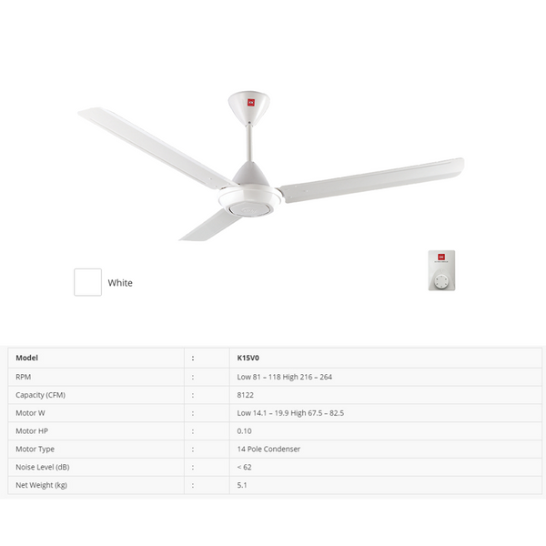 KDK K15V0 (150cm/60″) Regulator Type Ceiling Fan