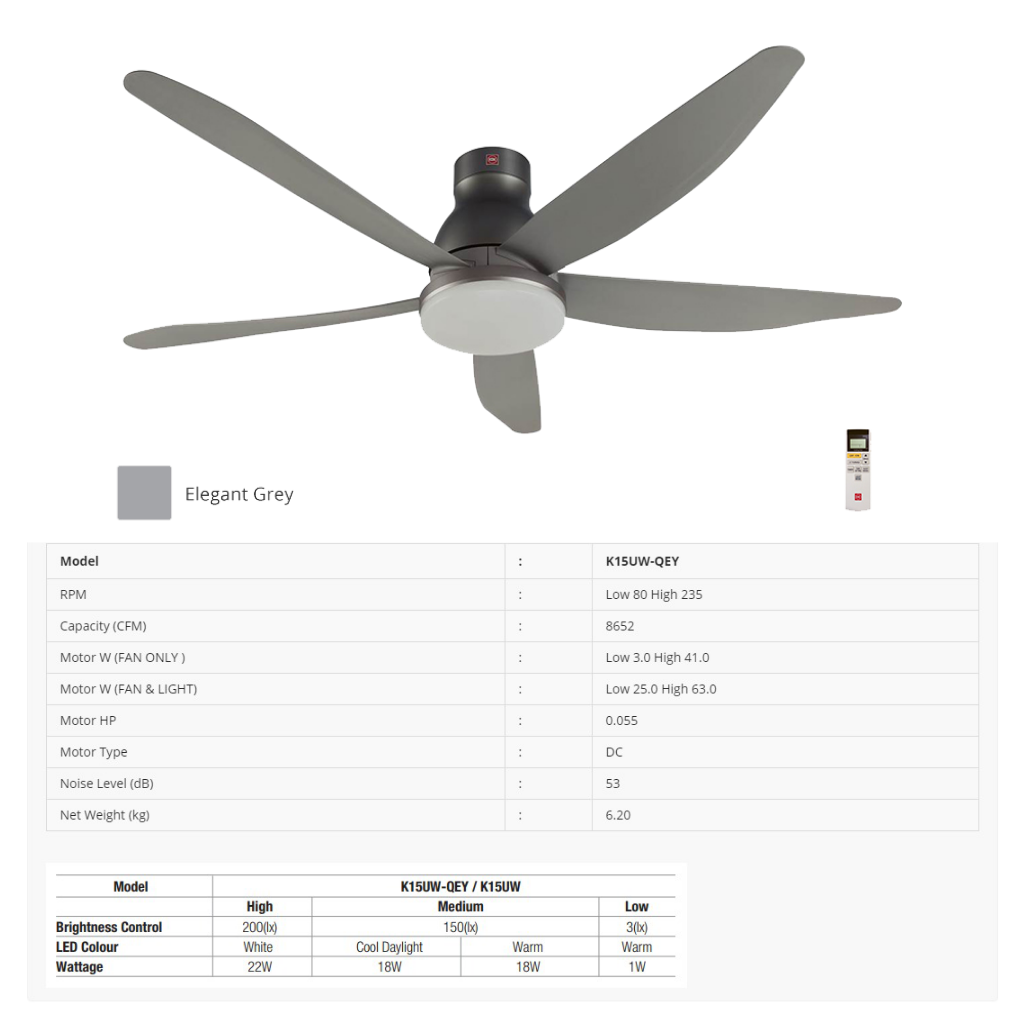 KDK K15UWQEY (150cm/60″) Nikko Ceiling Fan (Short Pipe) with LED Light