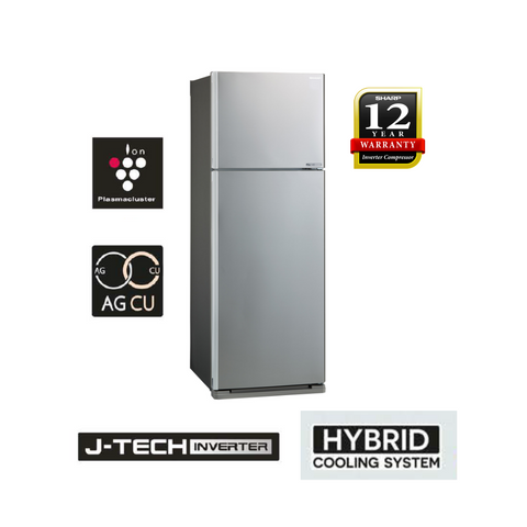Sharp (Silver) Pelican 2 Doors J-Tech Inverter Technology Refrigerator - SJE538