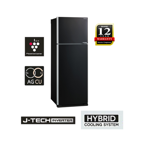 Sharp (Black) Pelican 2 Doors J-Tech Inverter Technology Refrigerator - SJE538