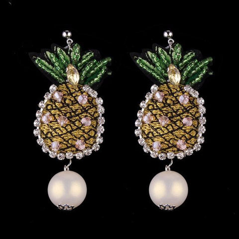 Stylish Pineapple Statement Crystal Stud Earrings