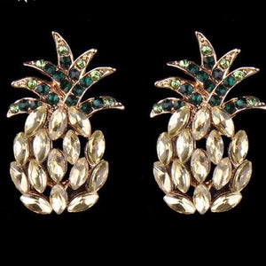 Magnetic Pineapple Statement Crystal Stud Earrings