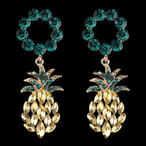 Tasteful Pineapple Statement Crystal Stud Earrings