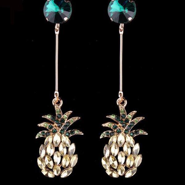 Sparkling Pineapple Statement Crystal Stud Earrings