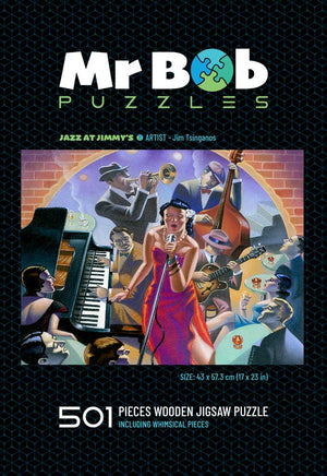 Jazz At Jimmy's - Wooden Jigsaw Puzzle-Mr Bob Puzzles - Wooden Jigsaw Puzzles