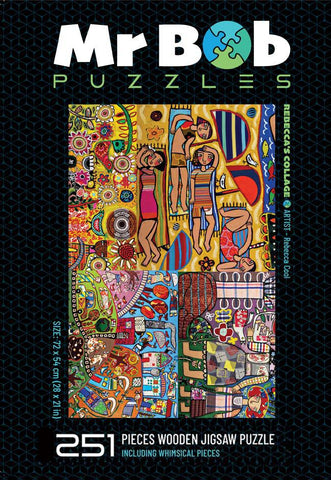Rebecca's Collage, 251 pieces with whimsicals. Classic-Mr Bob Puzzles - Wooden Jigsaw Puzzles