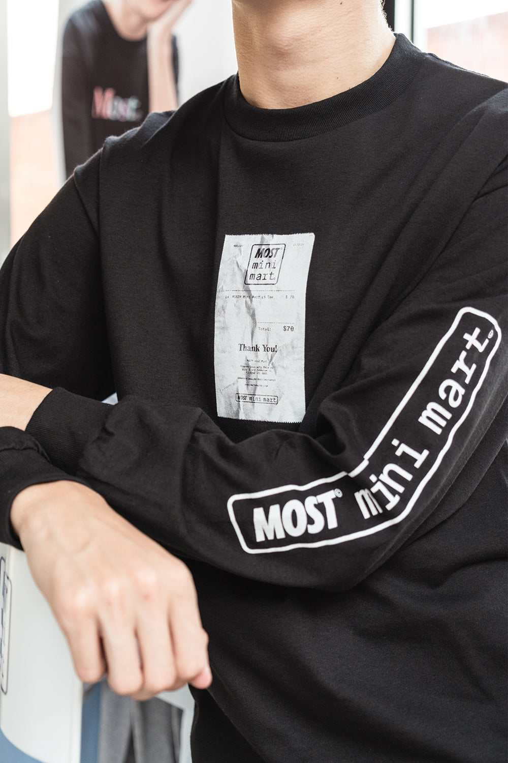 Mini Mart© Receipt Long Sleeve Tee - Black