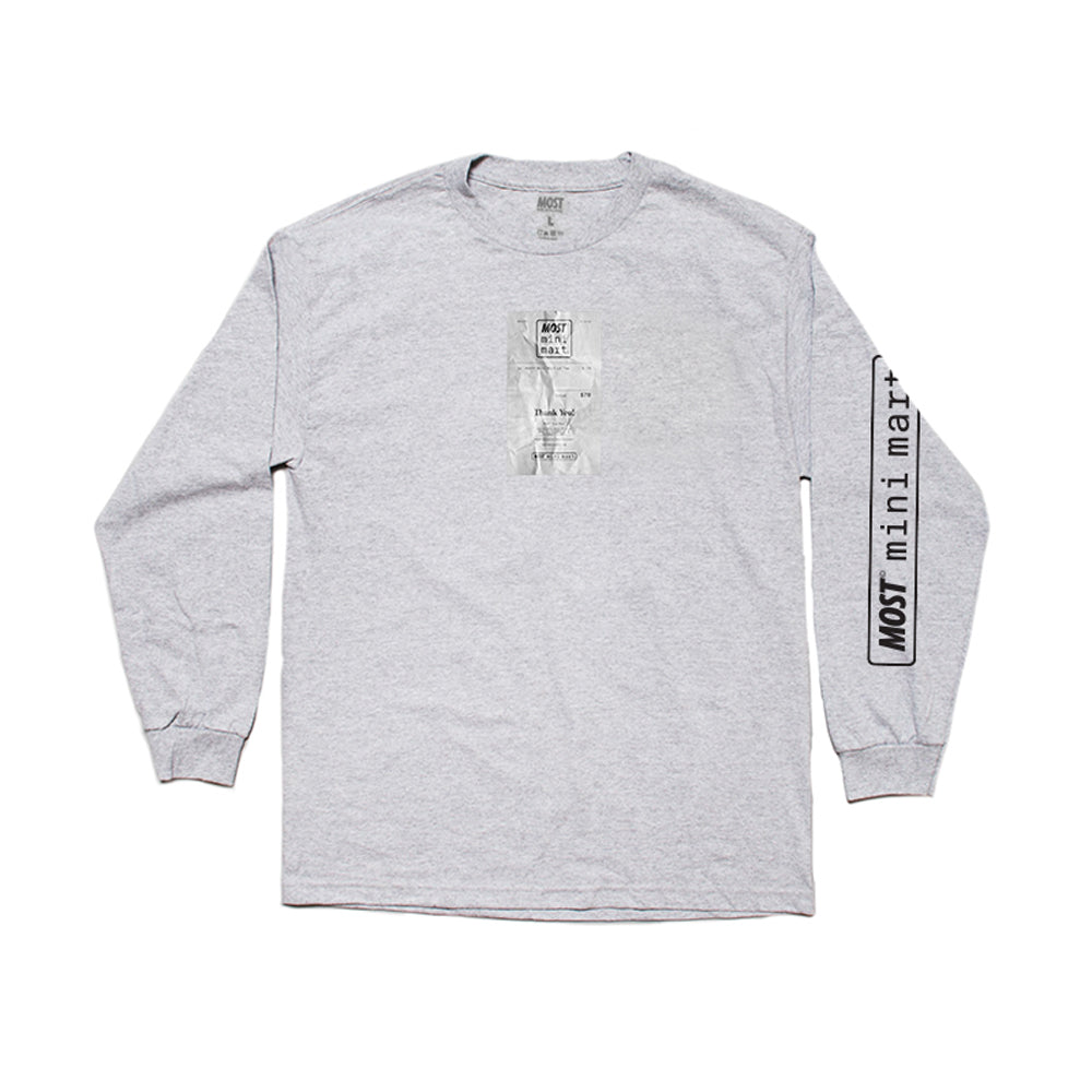 Mini Mart© Receipt Long Sleeve Tee - Grey