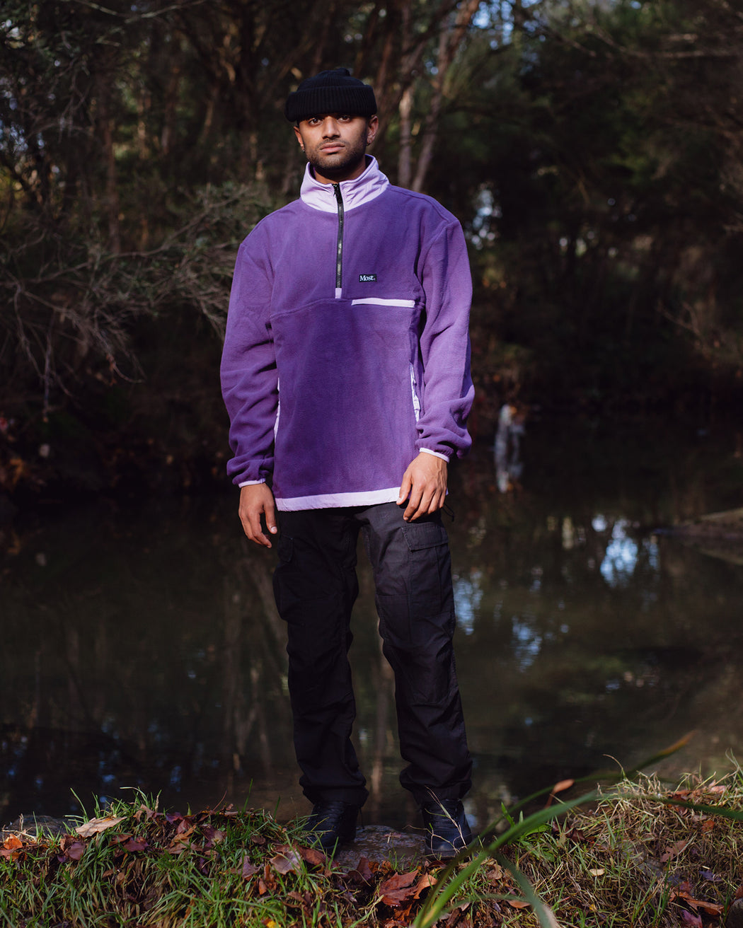 Half Zip Polar Fleece Pullover - Purple/Lavender