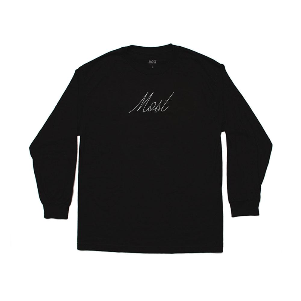 Script Long Sleeve Tee - Black