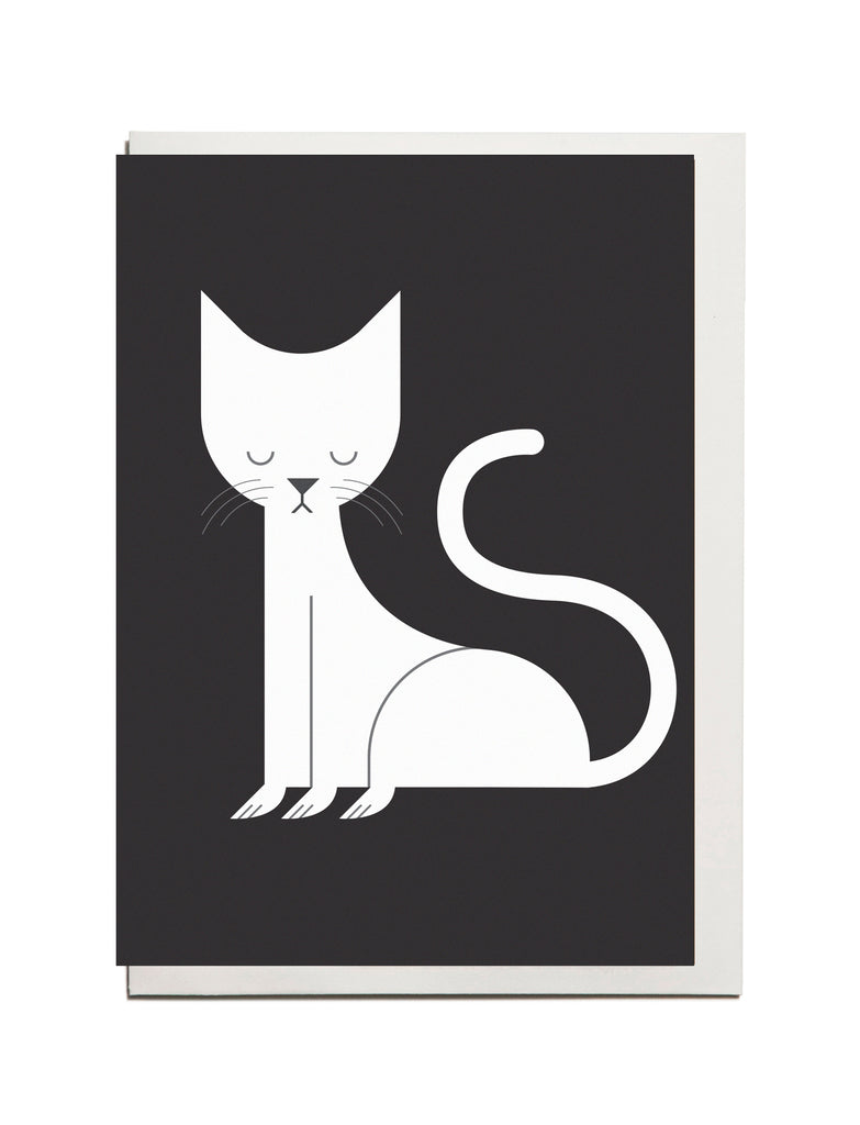 White Cat A6 Greeting Card