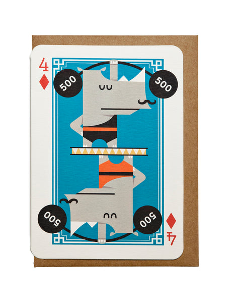 4 of Diamonds A6 Greeting Card
