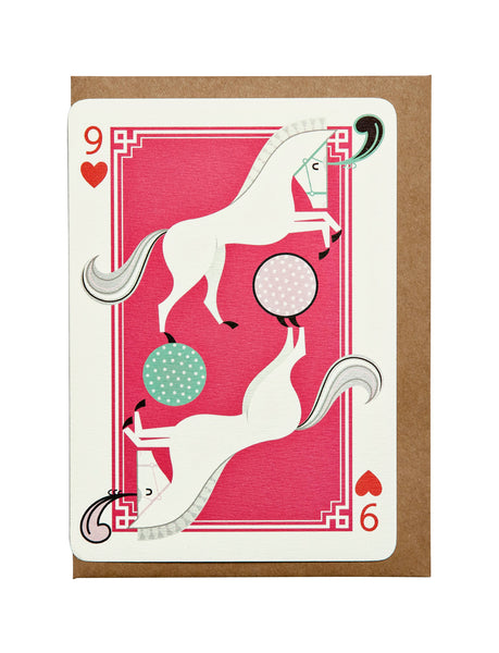 9 of Hearts A6 Greeting Card