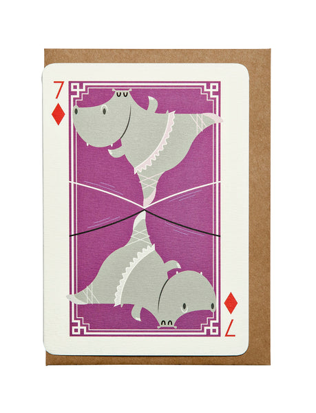 7 of Diamonds A6 Greeting Card