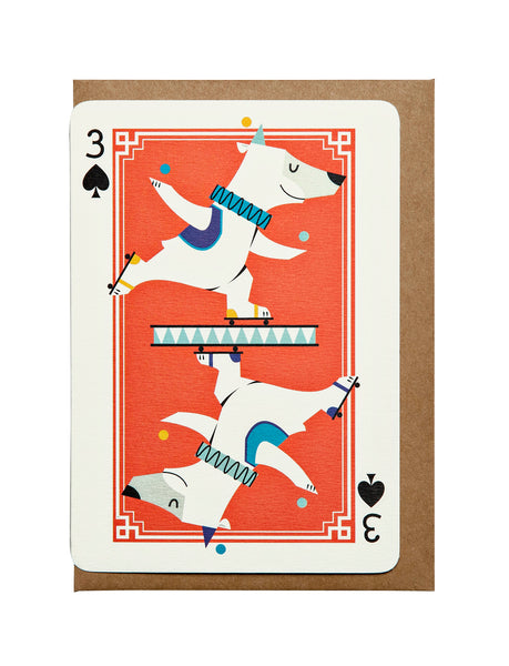 3 of Diamonds A6 Greeting Card