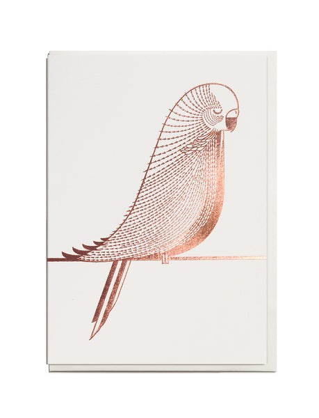 Foil Budgie A6 Greeting Card