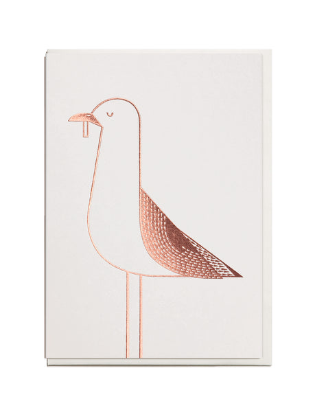Foil Seagull A6 Greeting Card
