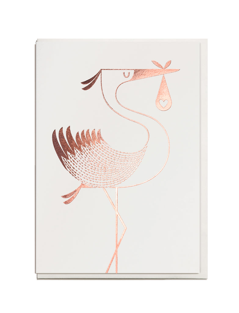 Foil Stork A6 Greeting Card