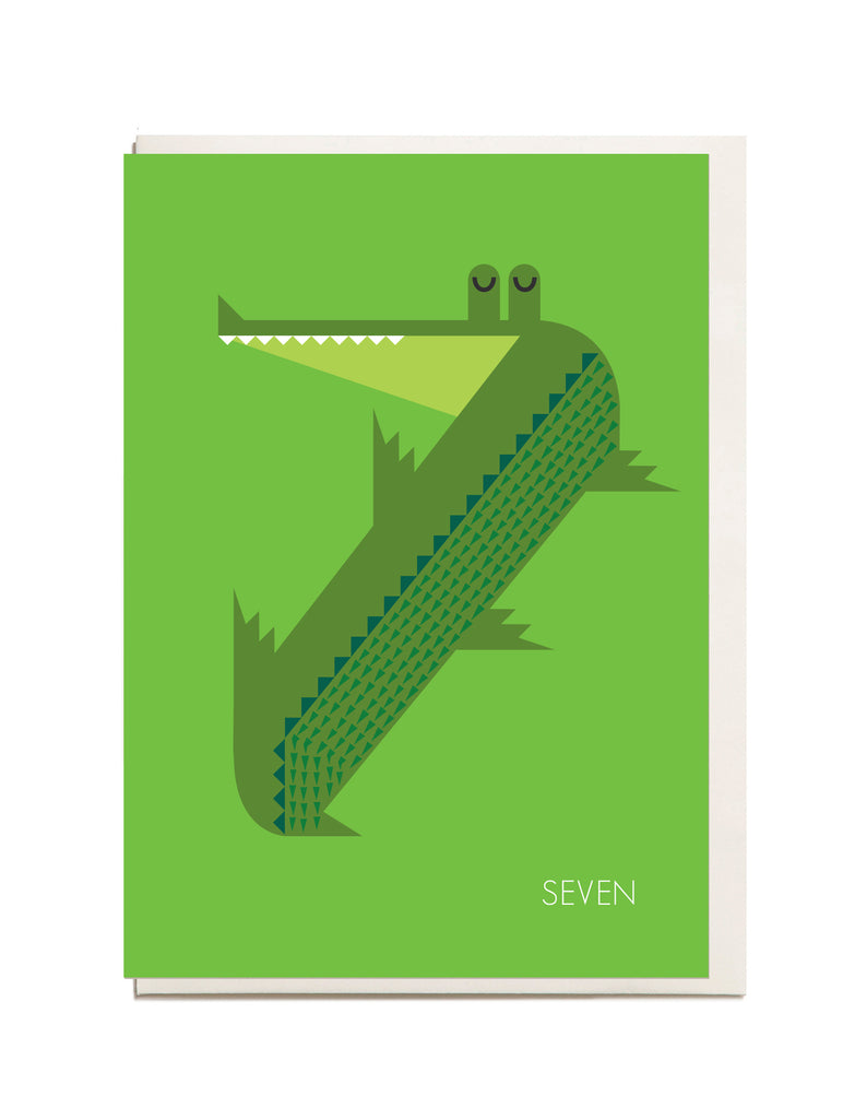 Number Seven A6 Greeting Card