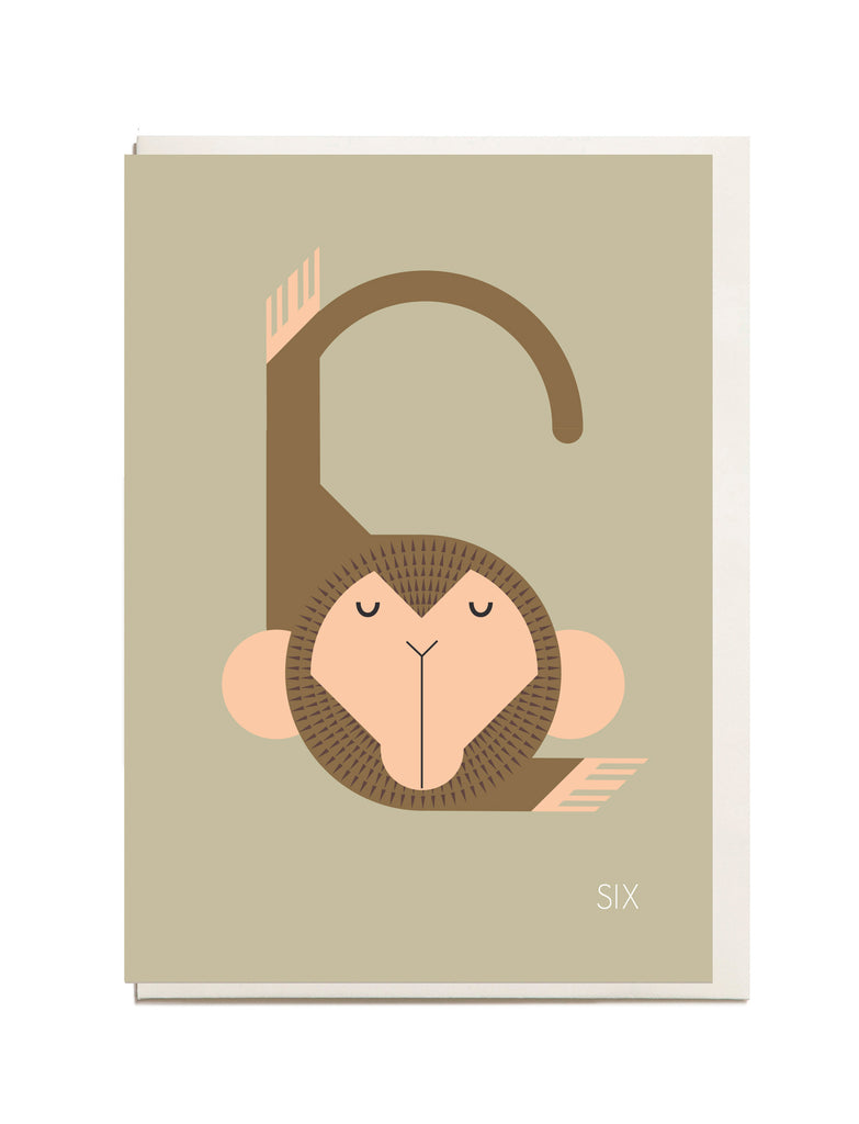 Number Six A6 Greeting Card