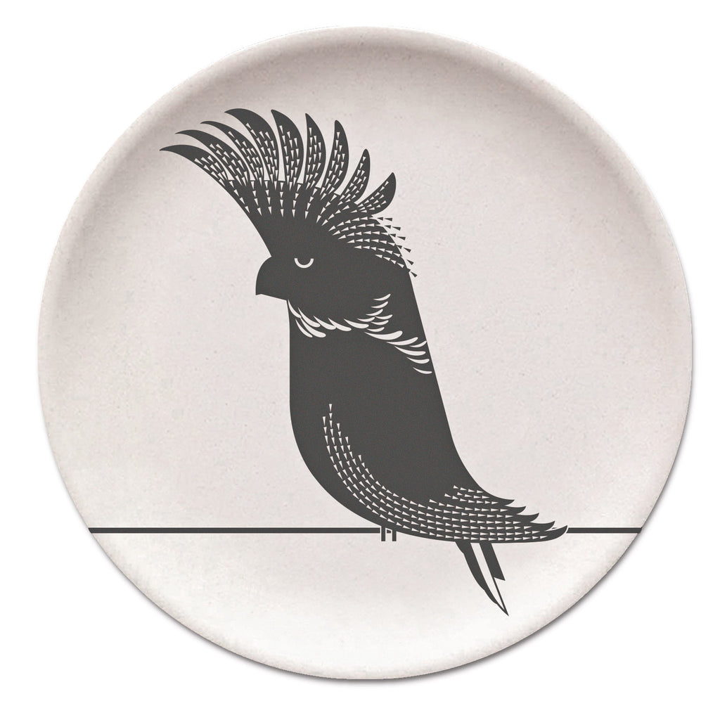 Black Cockatoo Bamboo Plate
