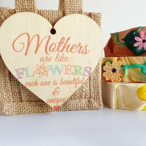 "Mother's Day Jute Bag... with sweet ""Mothers are like flowers..."" tag"