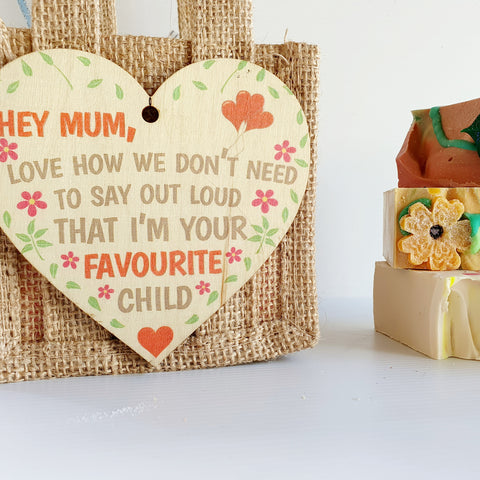 "Mother's Day Jute Bag... with funny ""Favourite Child"" tag"