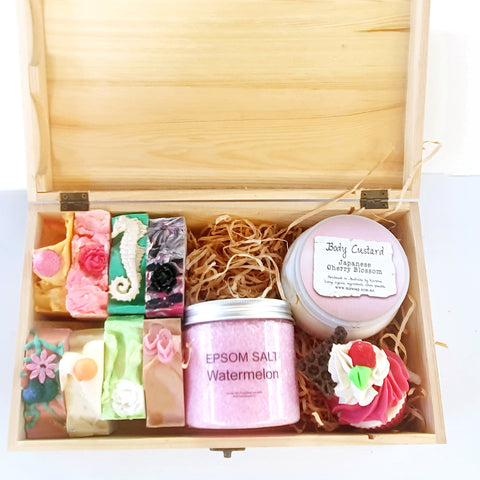Timber Gift Box with 8 soaps, epsom salts & body butter plus a cupcake soap