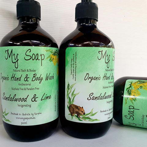 Sandalwood & Lime Organic Hand & Body Wash 500ml