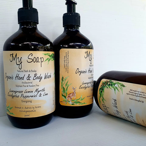Lemongrass, Lemon Myrtle, Eucalyptus, Peppermint & Lime Organic Hand & Body Wash 500ml