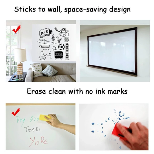 White&Clean™ Reusable Roll Up Self Adhesive Whiteboard -