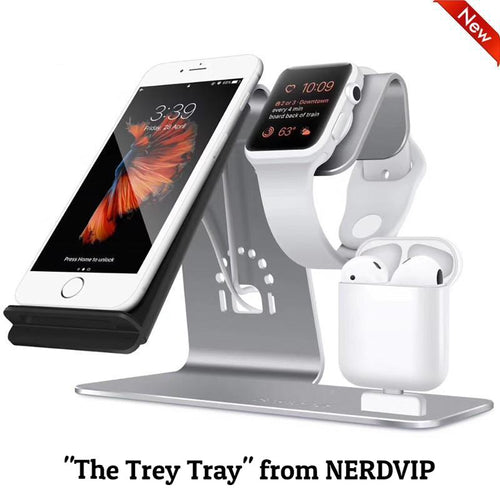 """The Trey Tray"" 3-in-1 Wireless Qi Charging Station -"