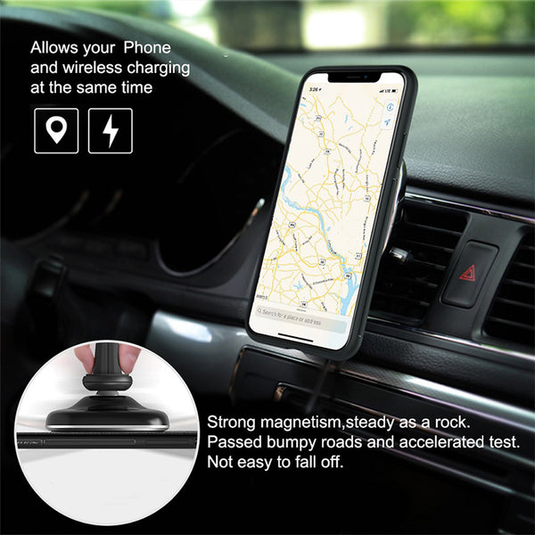 2-in-1 Qi Wireless 10W Car Charger AND Magnetic Vehicle Phone Holder -