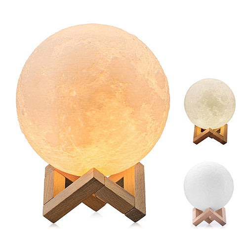 Multi-colored Luna Lamp - Exact 3D Replica of the Moon (8, 10, 12, 15, 20cm) -