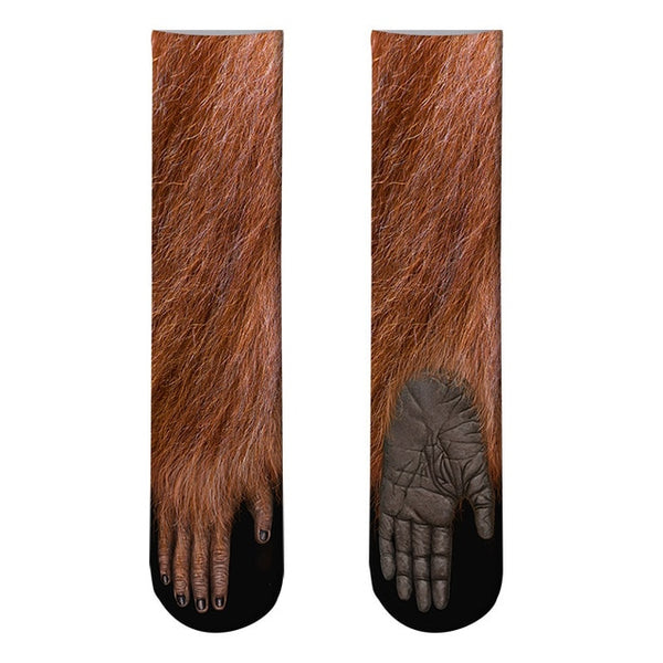 "ALL NEW! 3D Printed 16"" Long Animal Paw Socks (Unisex) -"