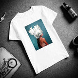 Harajuku Flower Head Dress t-shirt - T-Shirts